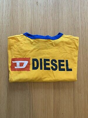 Vintage Retro Mens Diesel T Shirt Yellow Medium