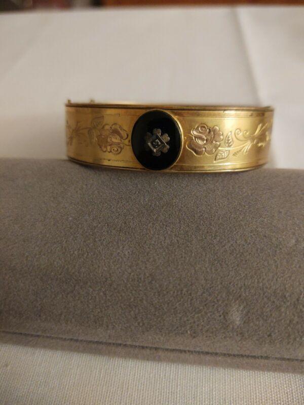 Victorian Gold Filled Hinged Bangle Bracelet Vintage Antique