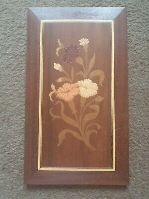 Vintage Marquetry Wall Plaque With Flowers