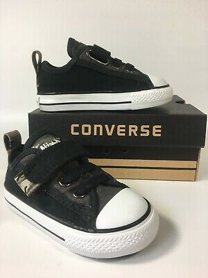 Baby Boys Converse Camo Slip on Black Strap All Star Trainers Shoes...