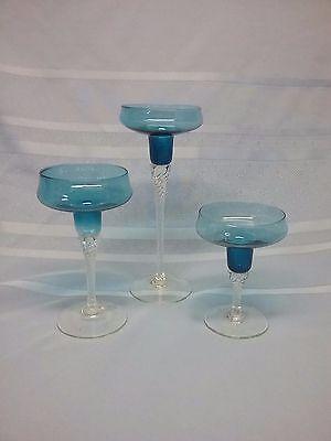 3 Piece Set Decorative Teal Blue Glass Votive Candle Holders Twist Stem (Decorative Candle 3 Piece)