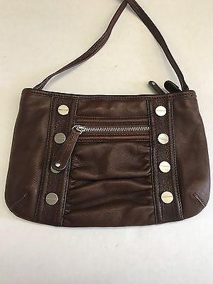 B. Makowsky Women's Handbag Brown Pebbled Leather Studded Crossbody Handbag