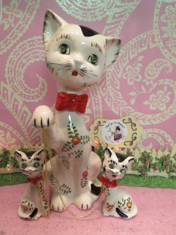 Vtg LIPPER & MANN SET OF 3 FLORAL Anthropomorphic Kitty Cats W Red Bow Collars