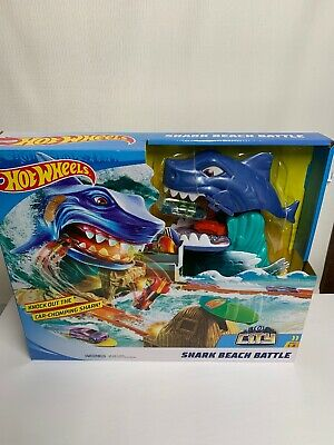 Hot Wheels City Shark Beach Battle Play Set Racing Car Launching Track Toy