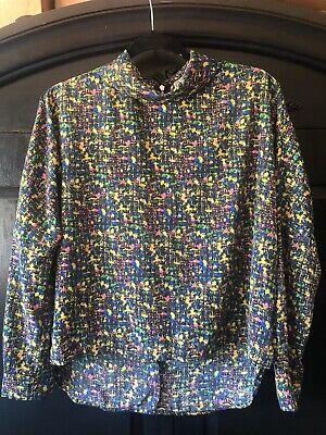 Womens Chloe K Long Sleeve Colorful Modern Blouse Zipper Back Size Small S Back Zipper Long Sleeve