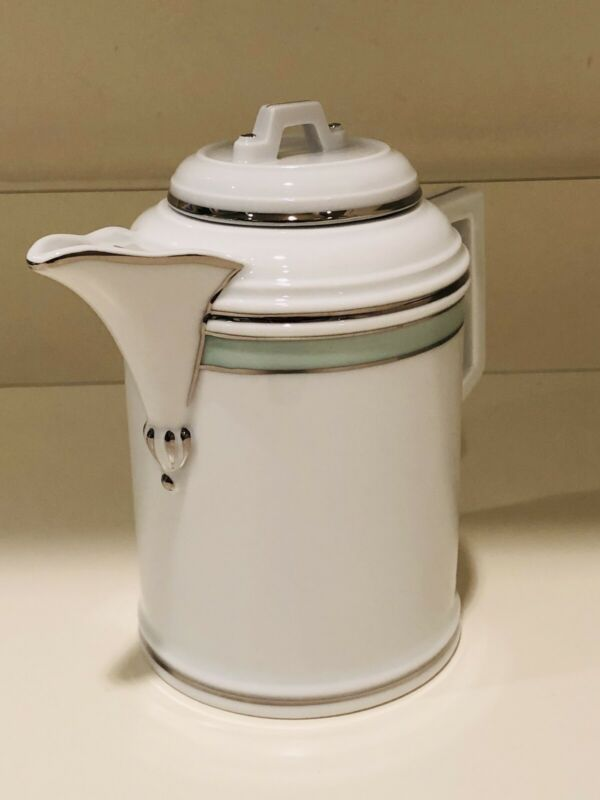Hochst Porcelain White/Mint Green and Silver Trim Teapot New