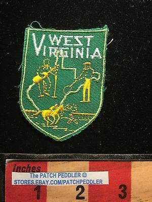 Vtg WEST VIRGINIA Patch ~ Guitar Music Player Horse Race Logo 64KK