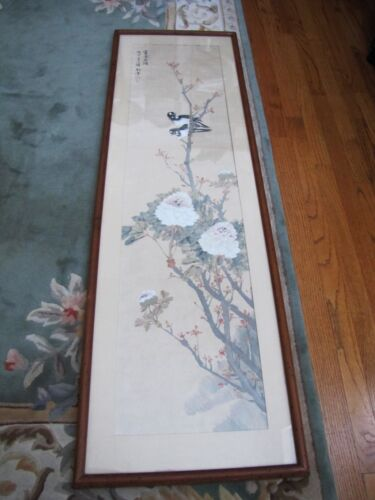 """Antique Chinese """"Birds & Flowers"""" Watercolor on Paper Painting"""