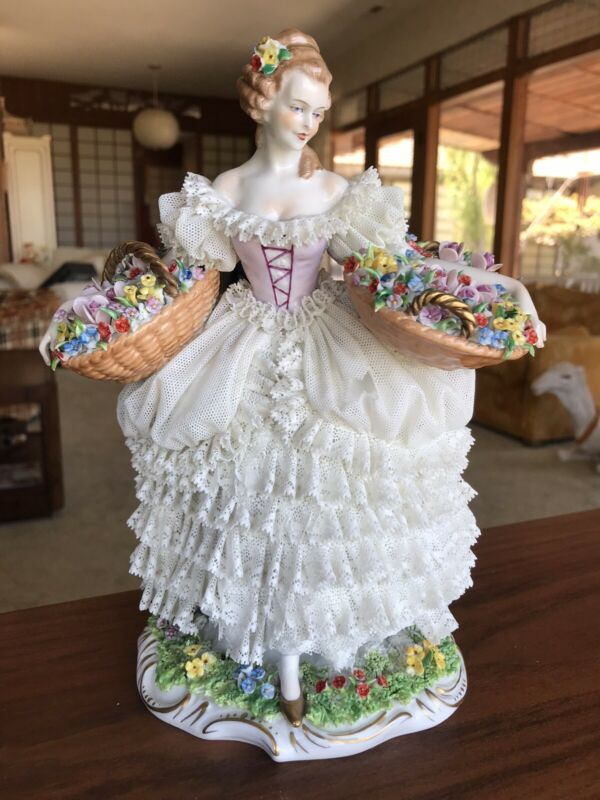 Sitzendorf Dresden Lace Girl With Flower Baskets Porcelain Figurine Germany