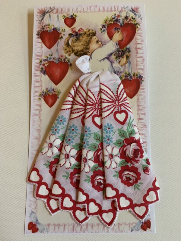 Gorgeous New Valentine Angel Handkerchief Card! Mailable !