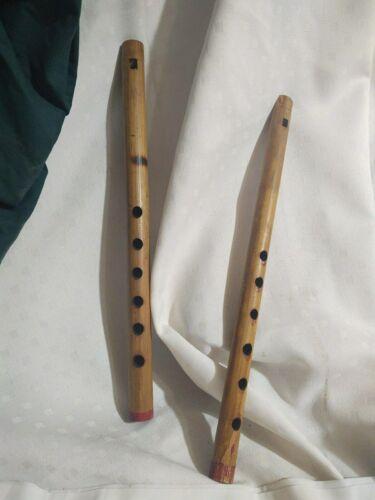 "2 VTG Wood Wooden Flutes 6-Hole 14"" Recorder India"