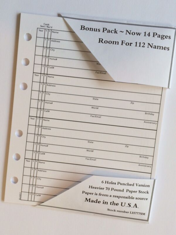4 3/4 X 6 Inches ADDRESS BOOK REFILL 14 Pages fits many older Hallmark and