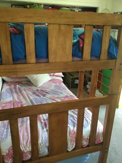 Bunk Beds timber king single with mattresses