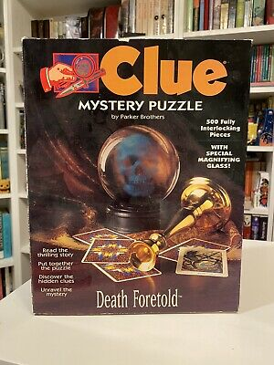 Clue Mystery Puzzle Death Foretold 500 Piece w/ Book & Magnifying Glass Jigsaw