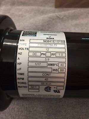 Free Shipping  Bodine Reversible Gear Motor 12 Volts Dc 601 Speed Reducer