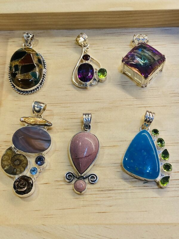 Various Gemstone Silver Toned Mixed Metal Jewelry Lot Large Statement Pendants
