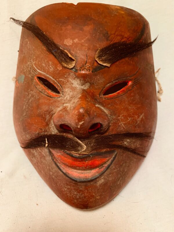 Antique Asian Hand Carved Original Theater Mask Real Hair Very Nice