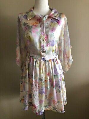 Delicate Romance was born silk floral dress, SIZE AUS 10, NWOT