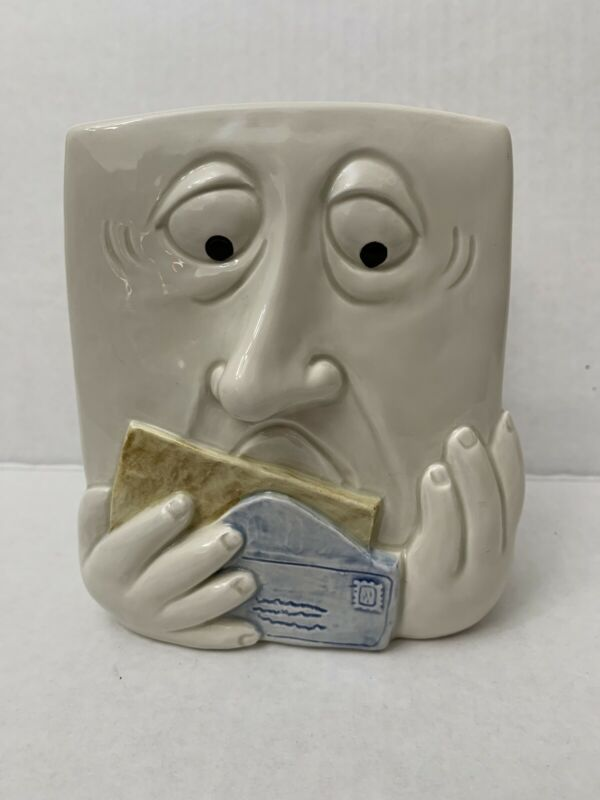 FITZ & FLOYD Faces Napkin/Mail Holder - 3D Face - Retired 1987 - Pre-owned