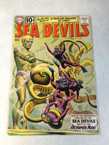 SEA DEVILS #1 KEY ISSUE, RUSS HEATH, OCTOPUS MAN, STUNNING COVER, 1961