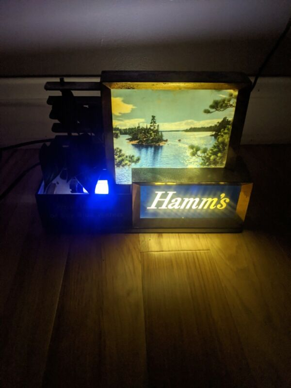 Vintage Hamms Beer Lighted Bar Sign Lake Water