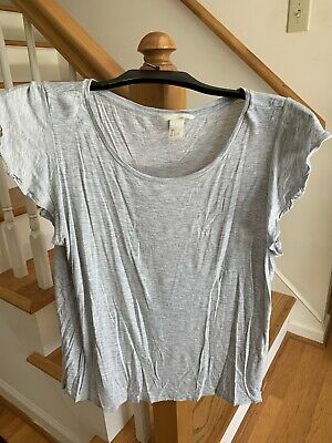 H&M Ladies Gray T-Shirt Ruffle Sleeve Size L