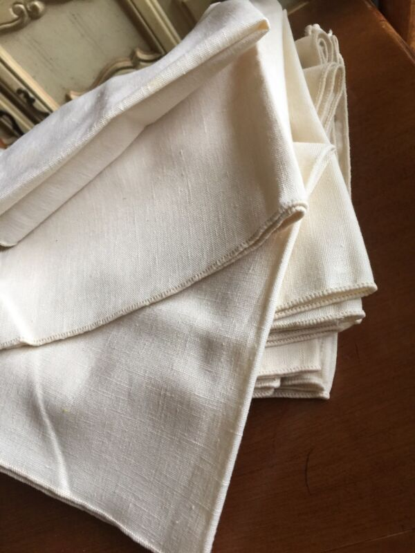 Antique French Ivory White Heavy Cotton Dinner Linen 12 Napkins Vintage Original