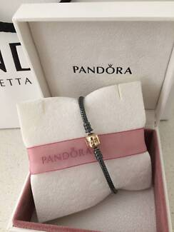 PANDORA OXIDISED 17 cm BRACELET with 14K GOLD CLASP (5907020G) Robina Gold Coast South Preview
