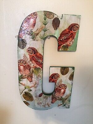 "Wooden Letter Initial G Owls 13.5"" Wall Door Hanging"