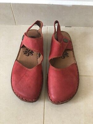 Josef Seibel Rosalie 27 Red Leather Womens Rip Tape Summer Shoes
