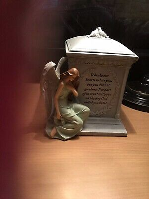 Roman 48476 8.5quot Inch Height Memorial Urn Forever with the Angels NEW Memorial Angel Urn