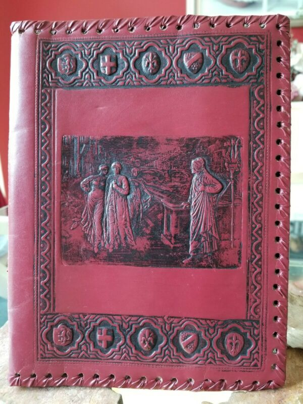 Vintage Hand Tooled Embossed Leather Journal/Book Cover
