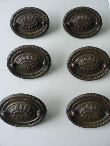 Six Hepplewhite Vintage Brass Drawer Pulls with Original Screws