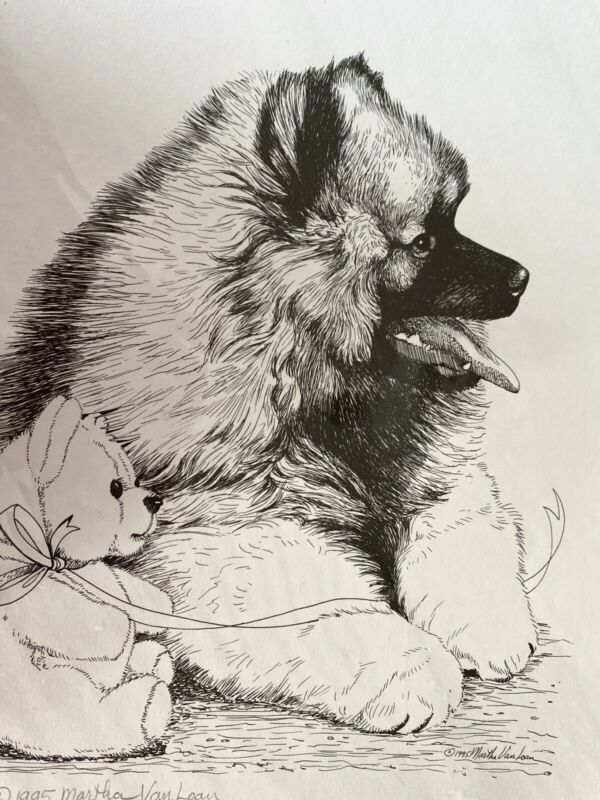 Keeshond Puppy Print 11x17 Signed By Van Loan