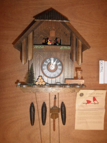 German made working SEE VIDEO musical Chalet  1 Day Cuckoo Clock CK1930