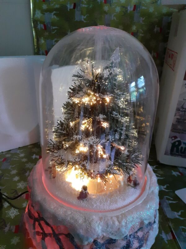"""Vtg Musical Fiber Optic Christmas Tree In Dome 18"""" Moving Snow beautiful in box"""