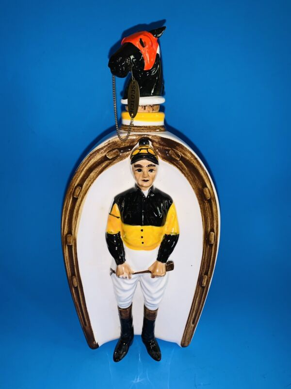 "Vintage 50's Japan Swank ""At The Post "" Ceramic Jockey Scotch Decanter"