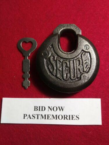 """SECURE"" CAST IRON PANCAKE PADLOCK w/ KEY, OLD ANTIQUE LOCK, VINTAGE LOCKS"