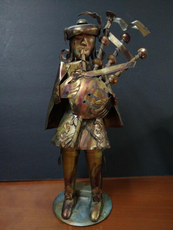 Vintage Scottish Bagpiper Metal Brass Figurine George Good Corporation 1978