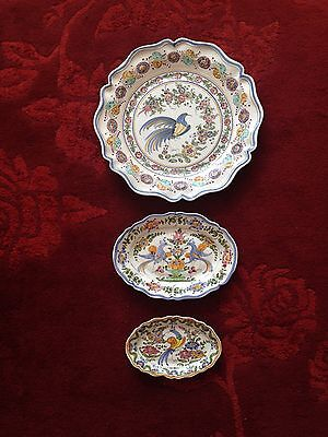 """Large Vintage Hand Painted Spanish Art Pottery Wall Plate 18"""" dia, 13"""" & 9.5"""""""