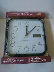 Seth Thomas Square Wall Clock Quartz Black New Sealed