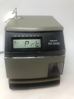 Amano Pix-3000x Digital Electric Time Stamp Recorder Clock - Not Working
