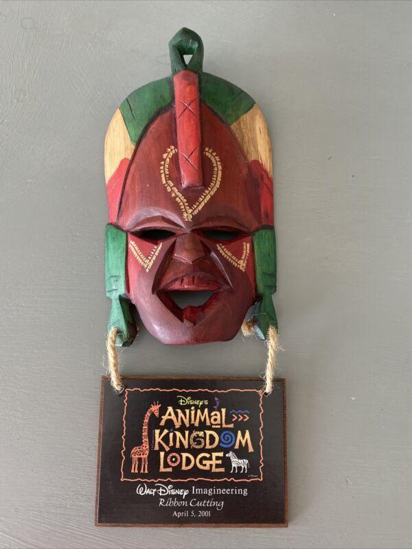 HTF Walt Disney Imagineering Wood Team Mask 2001 Animal Kingdom Lodge Opening