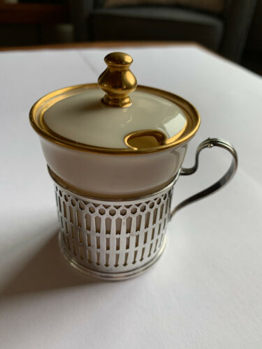 STERLING SILVER MUSTARD POT WITH ORIGINAL LENOX LINER EXCELLENT CONDITION