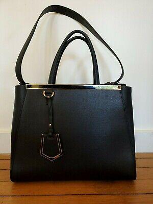 Authentic Fendi 2Jours Handbag - Black w/ Gold Hardware