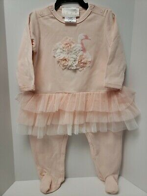 BISCOTTI AND KATE MACK LIGHT PINK FLAMINGO SKIRTED FOOTIE INFANT OUTFIT NEW 9 M Biscotti Kate Mack