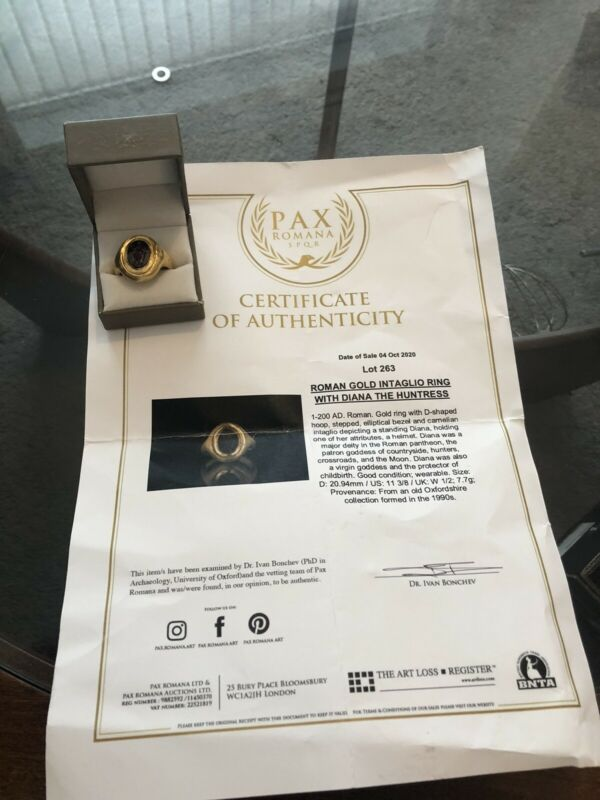 ROMAN GOLD INTAGLIO RING WITH DIANA THE HUNTRESS C. 1-200 AD COA FREEPOST UK