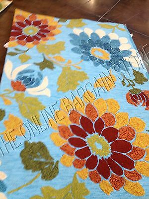 Frontgate Sunshine Blue Floral Area Rug Mat Indoor Outdoor Patio 5x7.5 Spring  ()