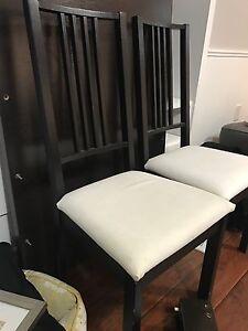 2 IKEA black dining chairs