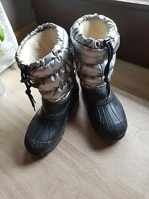 Winter Boot Kinder 33/34 Silber Schwarz Gefüttert Teddyfell Stiefel Schuh